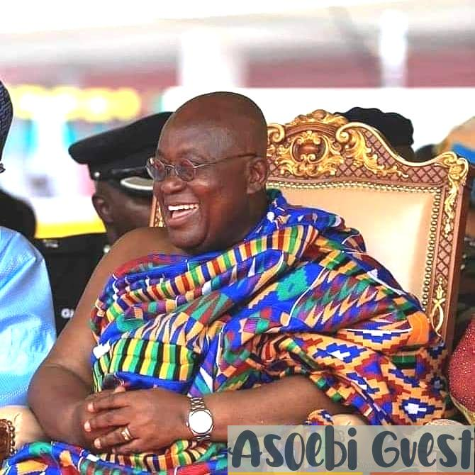 president of Ghana Nana Aufo-Addo in traditional hand woven Kente cloth