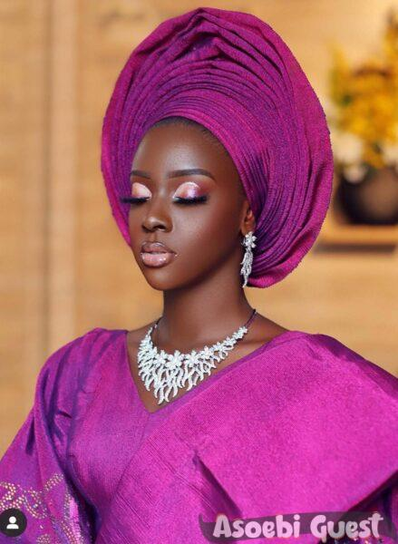 black beauty in pink aso oke